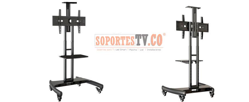 Soporte movil de piso con ruedas atril portatil pedestal para televisores y monitores - Soporte con ruedas para tv ...